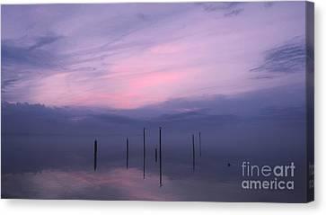 Harkers Island Canvas Print - Foggy Purple Haze Sunset by Benanne Stiens