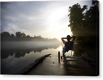 Hands Behind Head Canvas Print - Foggy Riverside Landscape At Sunset by Gillham Studios