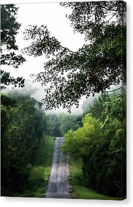 Canvas Print featuring the photograph Foggy Road To Eternity  by Shelby Young