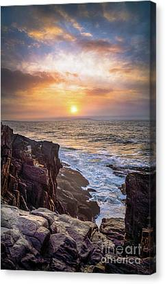 Foggy Sunrise From The Giant Stairs Canvas Print by Benjamin Williamson