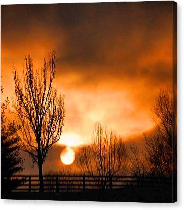 Canvas Print featuring the photograph Foggy Sunrise by Sumoflam Photography