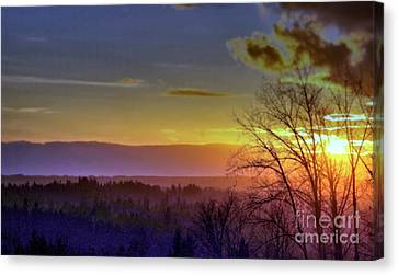 Foggy Sunset Canvas Print by Victor K