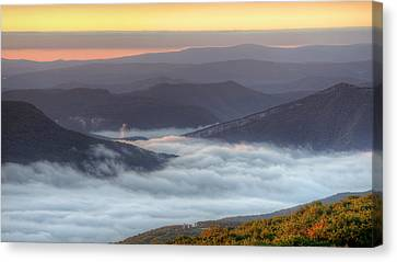 Foggy Valley Morning Canvas Print by Michael Donahue