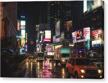 Foggy Wet Times Sq Canvas Print by Martin Newman