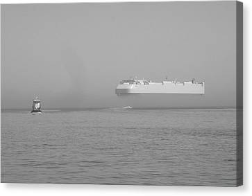 Fogs Floating Barge Canvas Print by WaLdEmAr BoRrErO