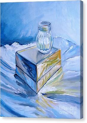 Foil, Silver Box, Salt Canvas Print by Vanessa Hadady BFA MA