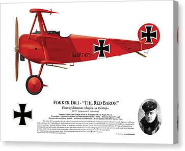 Fokker Dr.1 - The Red Baron - March 1918 Canvas Print by Ed Jackson