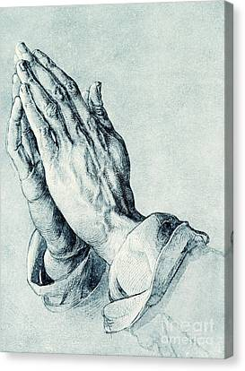 Folded Hands Of An Apostle Canvas Print by Albrecht Durer