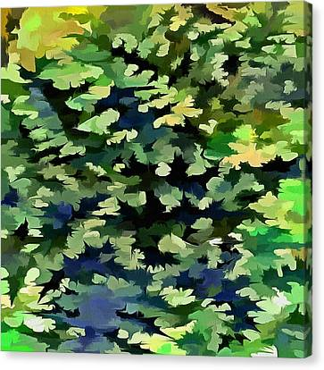 Foliage Abstract Pop Art In Green And Blue Canvas Print