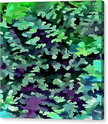 Foliage Abstract Pop Art In Jade Green And Purple Canvas Print