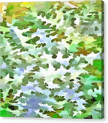 Foliage Abstract Pop Art In White Green And Powder Blue Canvas Print