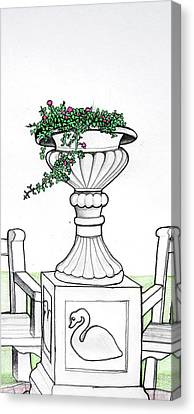 Canvas Print featuring the drawing Foliage Fountain by Mary Ellen Frazee