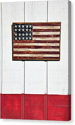 Folk Art American Flag On Wooden Wall Canvas Print