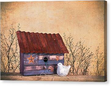 Folk Art Birdhouse Still Life Canvas Print