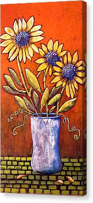 Folk Art Sunflowers Canvas Print by Suzanne Theis