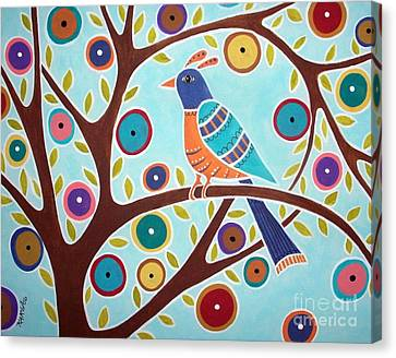Folk Bird In Tree Canvas Print by Karla Gerard