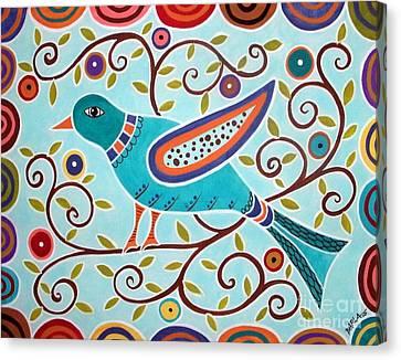 Blue Abstracts Canvas Print - Folk Bird by Karla Gerard