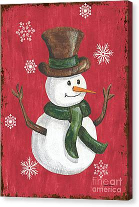 Celebrated Canvas Print - Folk Snowman by Debbie DeWitt
