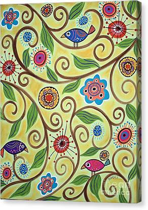 Folksy Branch Birds Canvas Print