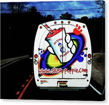 Follow That Van Canvas Print by Cyryn Fyrcyd