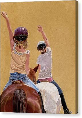 Follow The Leader - Horseback Riding Lesson Painting Canvas Print by Patricia Barmatz