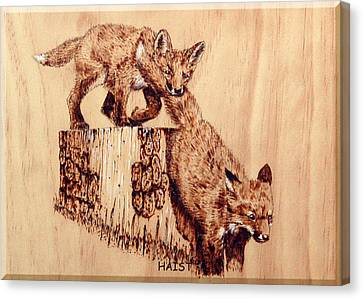 Canvas Print featuring the pyrography Follow The Leader by Ron Haist