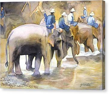 Canvas Print featuring the painting Follow The Leader by Yolanda Koh
