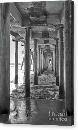Follow The Lines Under Huntington Beach Pier Canvas Print by Ana V Ramirez