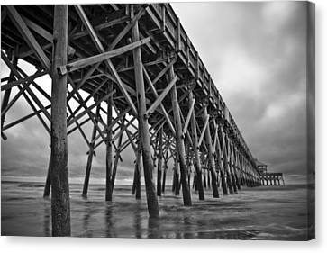 Folly Beach Pier Black And White Canvas Print