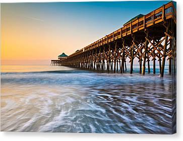 Folly Beach Pier Charleston Sc Coast Atlantic Ocean Pastel Sunrise Canvas Print by Dave Allen