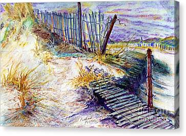 Sand Fences Canvas Print - Folly Fences by Carliss Prosser
