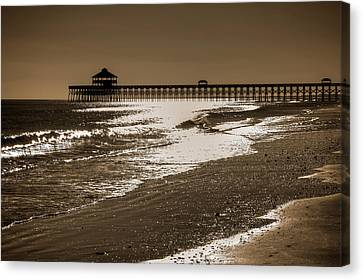 Folly Pier Sunset Canvas Print by Drew Castelhano