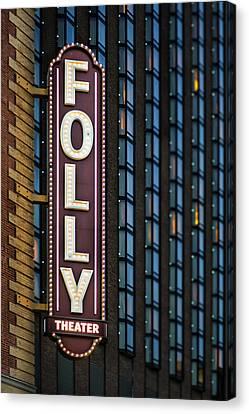 Folly Theater Sign Kansas City Canvas Print by Thomas Zimmerman