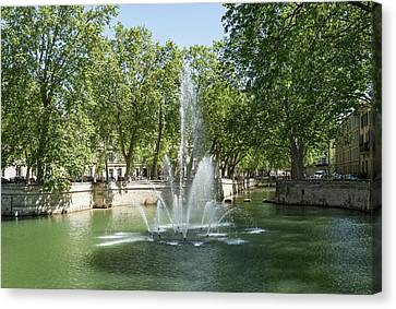 Canvas Print featuring the photograph Fontaine De Nimes by Scott Carruthers