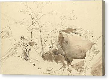Fontainebleau, Figure Leaning Against A Rock Canvas Print by Jean-Baptiste-Camille Corot