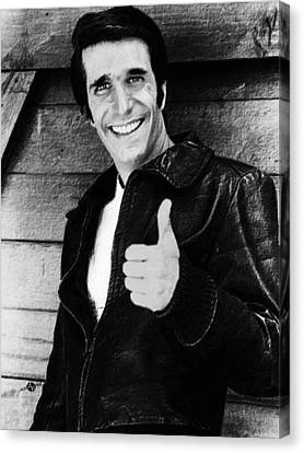 Fonzie Happy Days Black And White Painting Canvas Print by Tony Rubino