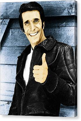 Fonzie Happy Days Painting Canvas Print by Tony Rubino