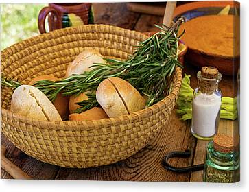 Canvas Print featuring the photograph Food - Bread - Rolls And Rosemary by Mike Savad