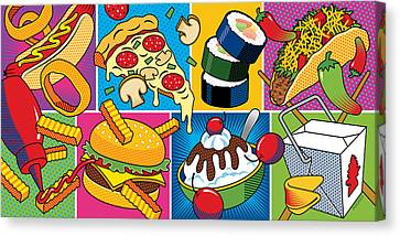 Hamburger Canvas Print - Food Essentials by Ron Magnes