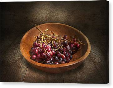 Food - Grapes - A Bowl Of Grapes  Canvas Print by Mike Savad