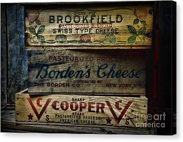 Food - Vintage Wooden Cheese Boxes Canvas Print by Paul Ward