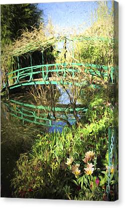 Foot Bridge Reflections In Monet's Garden Canvas Print by David Smith