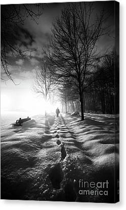 Foot Prints In The Snow Canvas Print