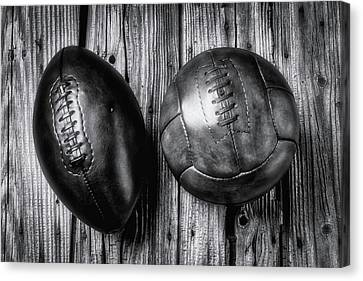 Football And Soccer Ball Canvas Print by Garry Gay