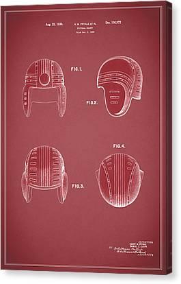 Football Helmet 1935 - Red Canvas Print by Mark Rogan