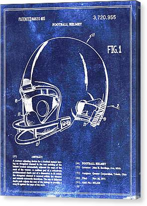 Football Helmet Patent Blueprint Drawing Canvas Print by Tony Rubino