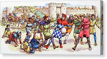 Football In The Middle Ages Canvas Print by Pat Nicolle