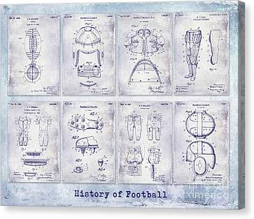 Football Patent History Blueprint Canvas Print by Jon Neidert