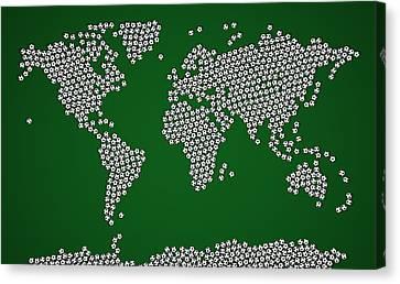 Football Soccer Balls World Map Canvas Print by Michael Tompsett