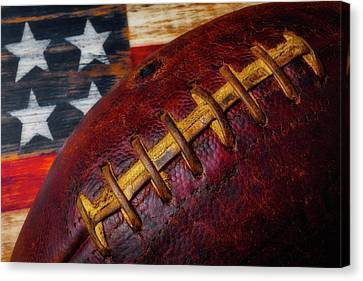 Football Stitching Canvas Print by Garry Gay